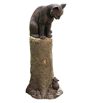 cat garden statue. Plow \u0026 Hearth Cat And Mouse Outdoor Garden Decor, Weatherproof Resin, Bronze-Colored Statue