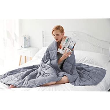 Gsleeper Weighted Blanket (Grey, 48 x72  Twin Size 15LB),New Concept of Sleep, Comfortable Sleeping, Warm and Close-Fitting but not Bloated