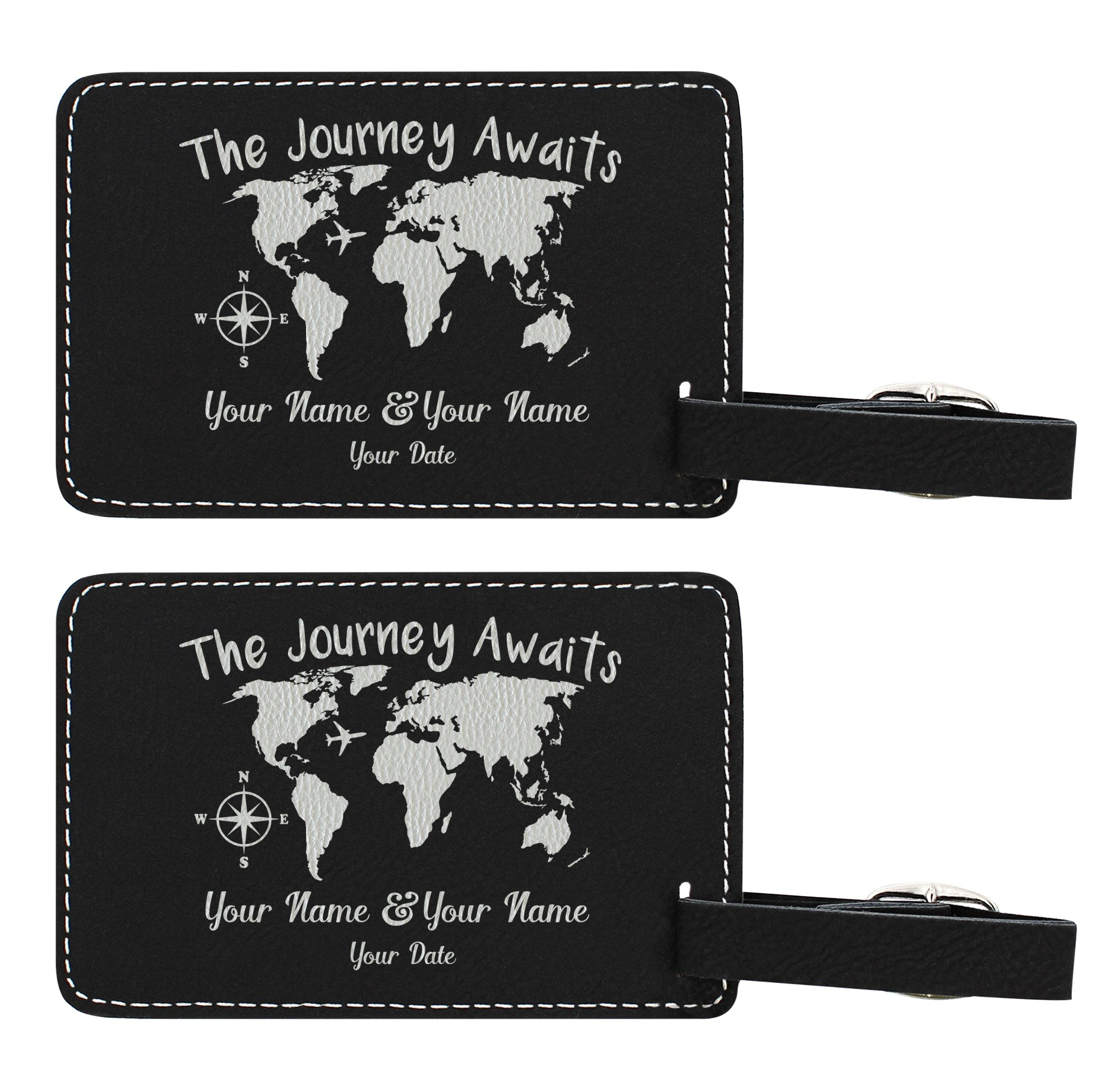 Personalized Wedding Anniversary Gifts Custom Names & Text Journey Awaits Personalized Wedding Gifts Personalized 2-pack Laser Engraved Leather Luggage Tags Black