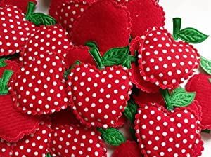 "YYCRAFT Pack of 50 Red 1.5"" Dots Padded Apple Christmas Decorations X Mas Appliques"
