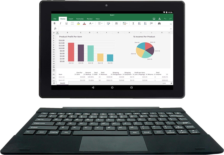 [3 Bonus Items] Simbans TangoTab 10 Inch Tablet and Keyboard 2-in-1 Laptop, 2 GB RAM, 32 GB Disk, Android 9 Pie, Mini-HDMI, Micro-USB, USB-A, Inbuilt GPS, Dual WiFi, Bluetooth Computer PC -TL92