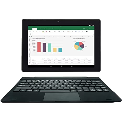 [2 Bonus Item] Simbans TangoTab 10 Inch Tablet + Keyboard 2-in-1 Laptop |  2GB RAM, 32GB Disk, Android 8 1 Oreo | GPS, WiFi, USB, HDMI, Bluetooth |  IPS