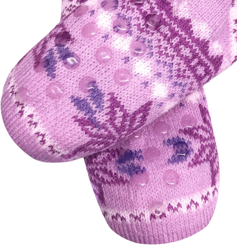 TOSKATOK Girls Warm Winter Slipper Bed Socks with Anti slip Gripper soles and soft cosy Teddy Fleece Lining