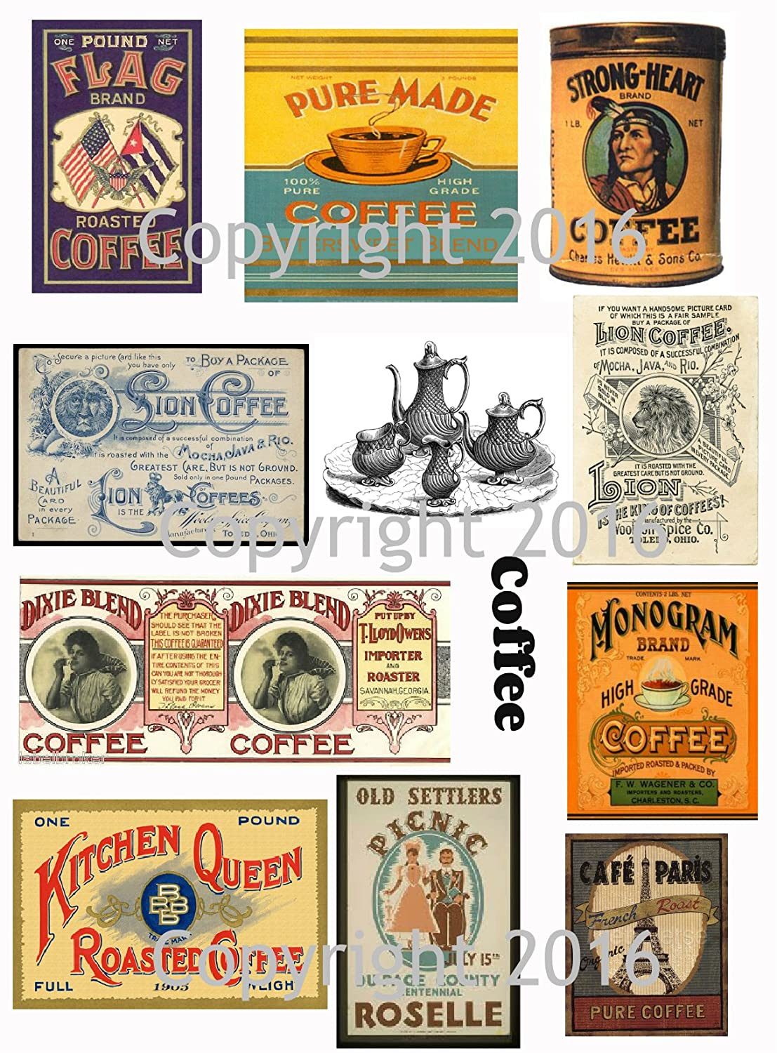 Assorted Vintage Ephemera Coffee Label Images #2 on Collage Sheet for Photo Art, Scrapbooking, Collage, Decoupage Paper Moon Media