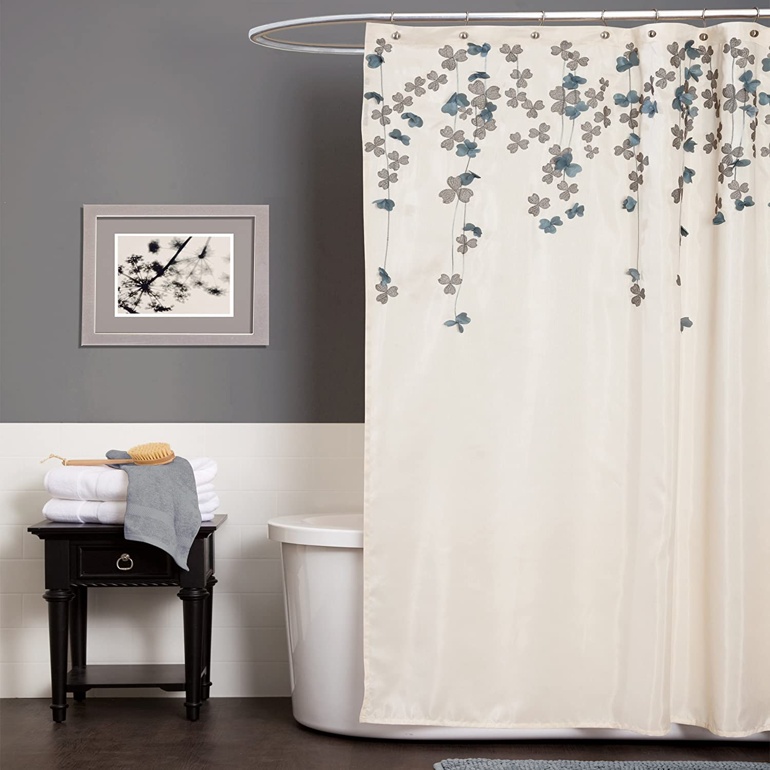 Amazon com  Lush Decor Flower Drop Shower Curtain 72 Inch by Ivory Blue Home Kitchen