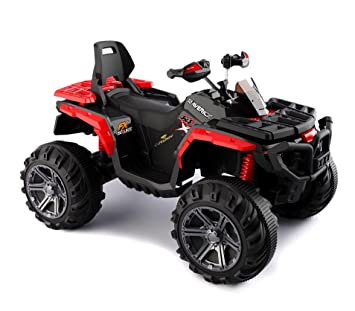 B83562 Quad PASSION ATV moto MONSTER eléctrico para niños MP3 4 amortiguadores - Rojo: Amazon.es: Juguetes y juegos