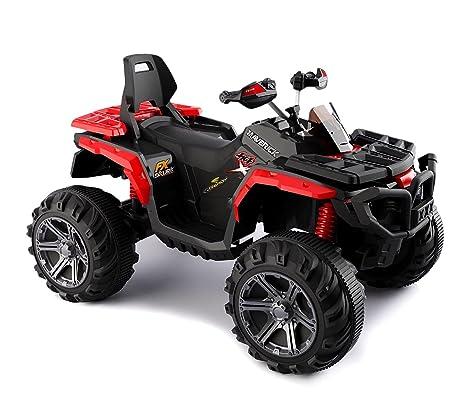 B83562 Quad PASSION ATV moto MONSTER eléctrico para niños MP3 4 amortiguadores - Rojo