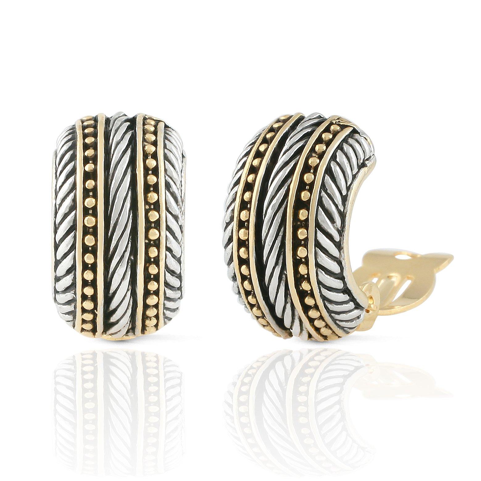 JanKuo Jewelry Two Tone Bali Antique Style Symmetrical Shape Clip On Earrings