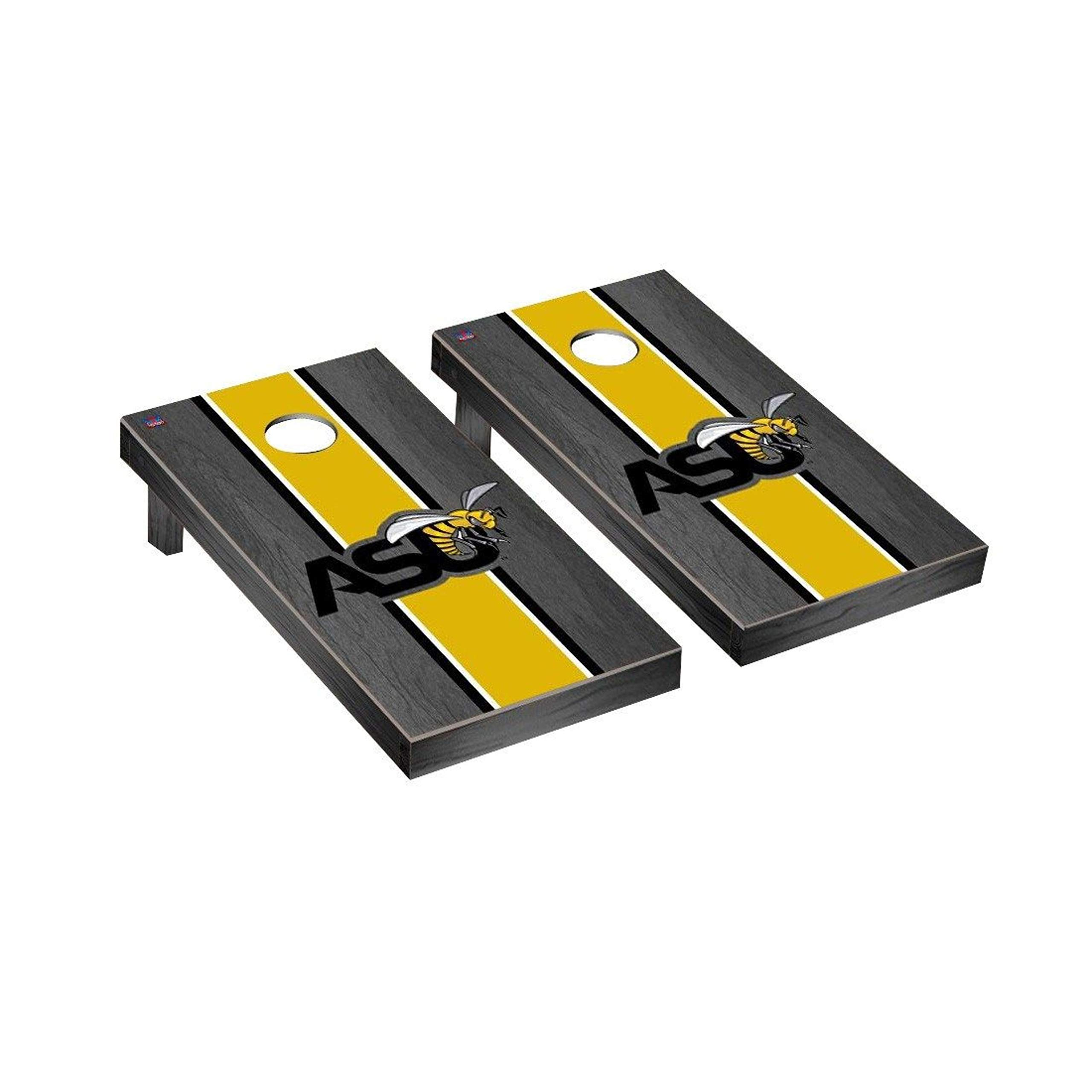 Victory Tailgate Regulation Collegiate NCAA Onyx Stained Stripe Series Cornhole Board Set - 2 Boards, 8 Bags - Alabama State ASU Hornets