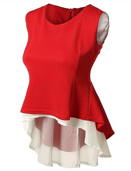7Encounter Women s Trendy Sleeveless 2 Layer Peplum Blouse S Red at ...