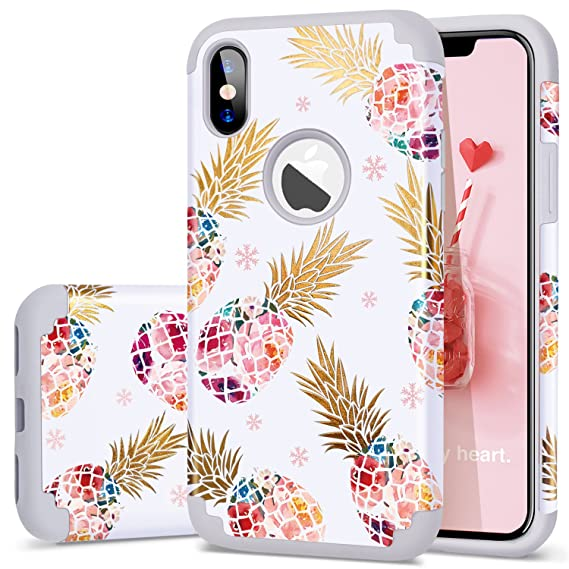 brand new d88f2 60df1 Fingic Phone Case for iPhone X/iPhone Xs (2018),Floral Pineapple Ultra Slim  Case Hard PC Soft Rubber Anti-Scratch Shockproof Protective Case Cover for  ...