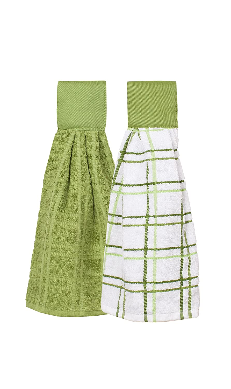 Ritz Kitchen Wears 100% Cotton Checked & Solid Hanging Tie Towels 2 Pack, Cactus Green 2 Piece