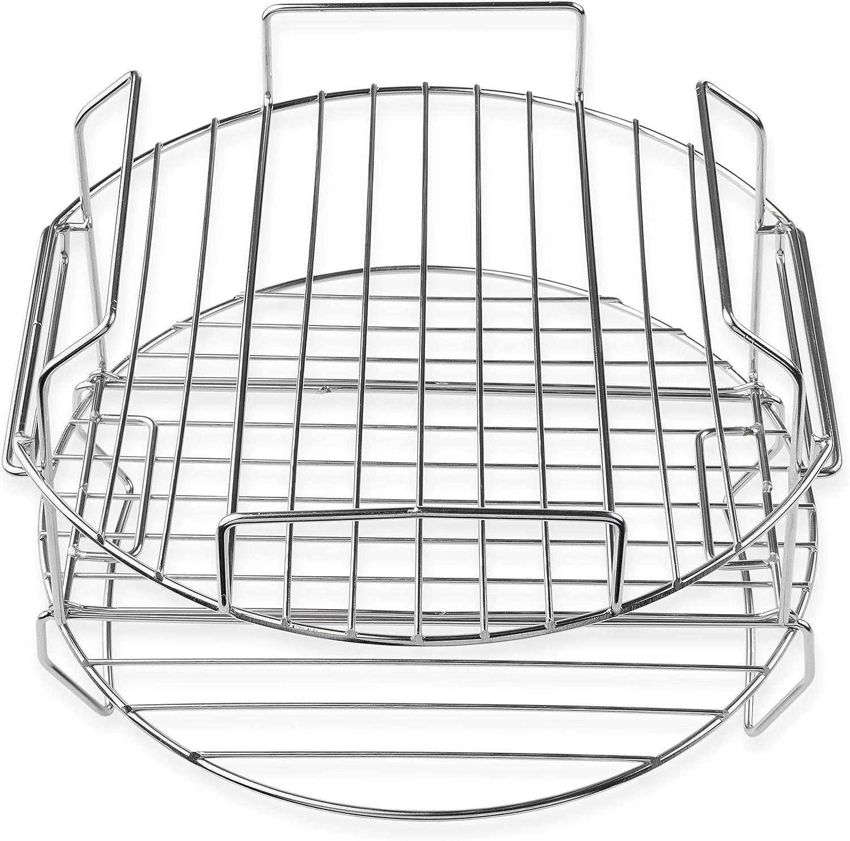 ZipCook Mate Air Fryer Accessories 8 Qt Stackable Flip Up Double Racks Rib Rack Stainless Steel layered Insert Double Basket Compatible with Ninja Foodi Deluxe Pressure Cooker 8 Quart