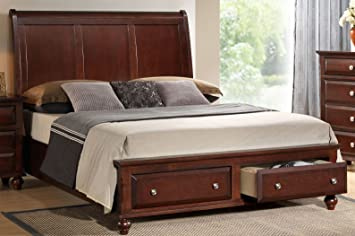 roundhill furniture concord solid wood storage platform bed king cherry