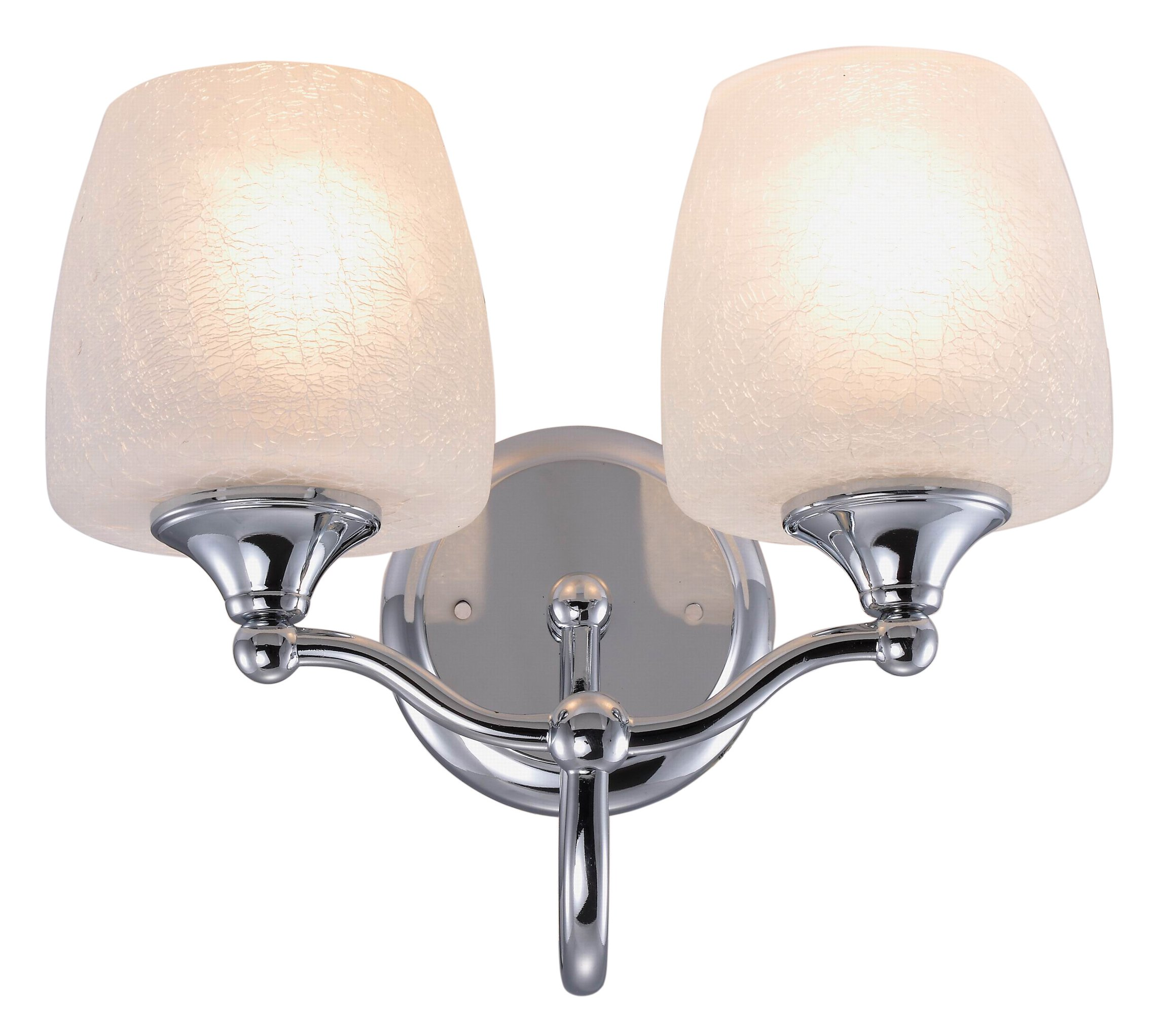 Yosemite Home Decor 1031-2CH 2-Light Bathroom Vanity, Chrome - Width 12.13-Inch by height 10-Inch by depth 7.5-Inch Requires (2) medium-based, 100-Watt incandescent bulbs (not included) Chrome frame with crackle frosted glass - bathroom-lights, bathroom-fixtures-hardware, bathroom - 81iur52J3QL -