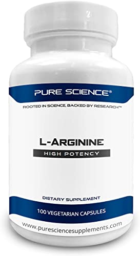 Pure Science L-Arginine Supplements 750mg Improve Coronary Cardiovascular Health, Improve Immune Function, Blood Flow Physical Performance 100 Vegetarian Capsules of L-Arginine Powder