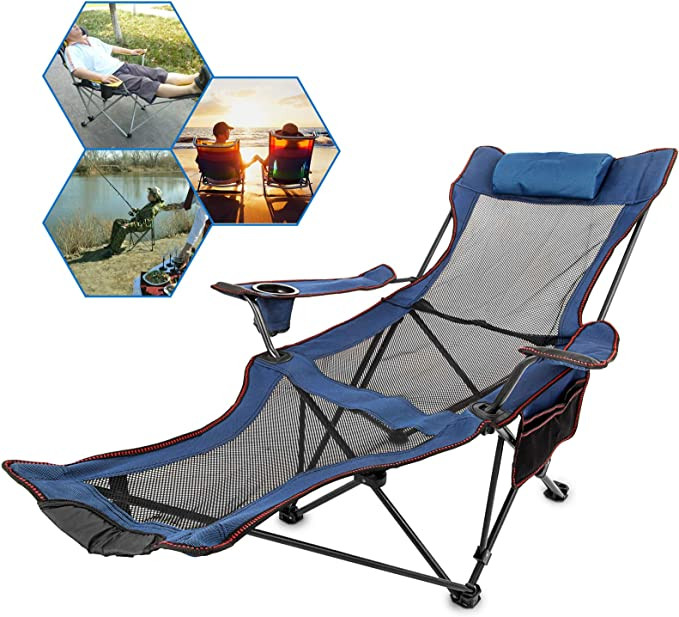 Happybuy Folding Plus Size Beach Chairs With Mesh Cup Holder And Footrest