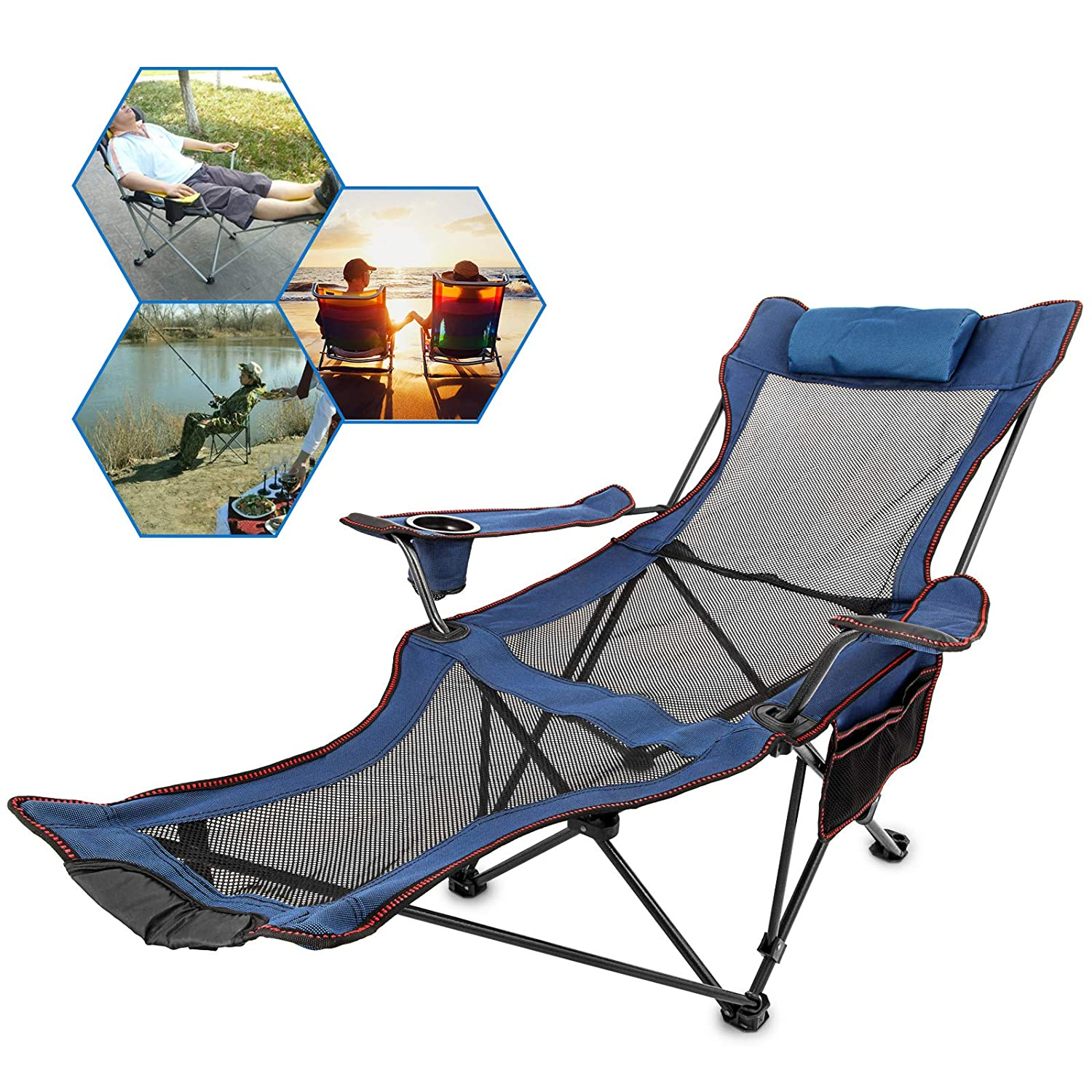 Incredible Happybuy Blue Folding Camp Chair With Footrest Mesh Lounge Chair With Cup Holder And Storage Bag Reclining Folding Camp Chair For Camping Fishing And Creativecarmelina Interior Chair Design Creativecarmelinacom
