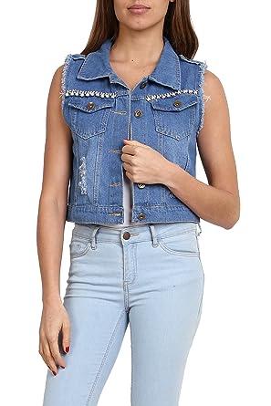 83d6d96965 G&L Gilet in Jeans da Donna Senza Maniche Giacca Denim Slim Corte ...