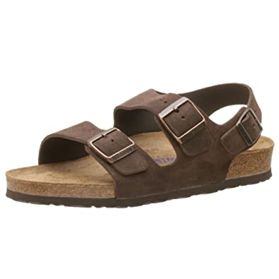 Birkenstock Milano Soft Footbed Sandal With Heel Strap Mocha Suede