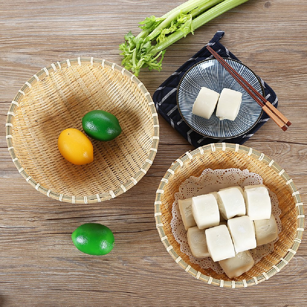 wellhouse Natural Bamboo Straw Woven Round Bread Roll Baskets Food Serving Baskets Fruits Storage Containers Draining Plate Round with Height by wellhouse (Image #3)