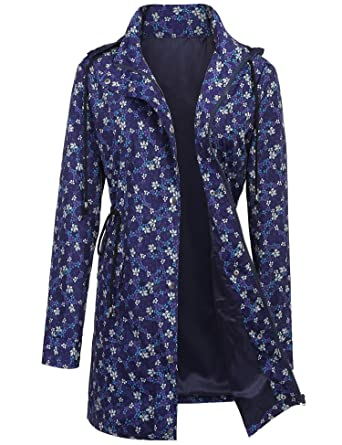 e6e2103b8 UUANG Raincoat Outdoor Lightweight Jackets Waterproof Active Outdoor Rain  Jacket (Floral Print1,S)