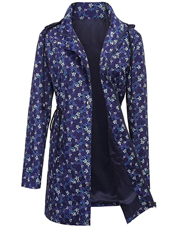 UUANG Rain Jacket Women Waterproof Hood Lightweight Outdoor Windbreaker (Floral Print1,L) best women's raincoats