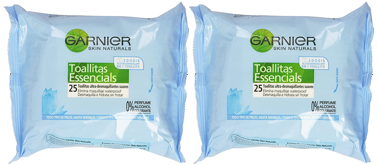 Garnier Skin Natural - Toallitas essencials desmaquillantes, 2 X 25 gr: Amazon.es: Belleza