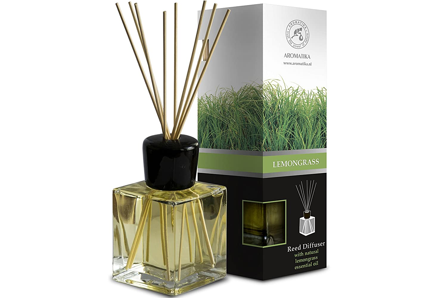 Lemongrass Reed Diffuser w/ Natural Essential Lemongrass Oil 100ml - Intensive - Fresh & Long Lasting Fragrance - Scented Reed Diffuser - 0% Alcohol - Diffuser Gift Set w/ 8 Bamboo sticks is the Best for Aromatherapy - SPA - Home - Kitchen - Bath - Of