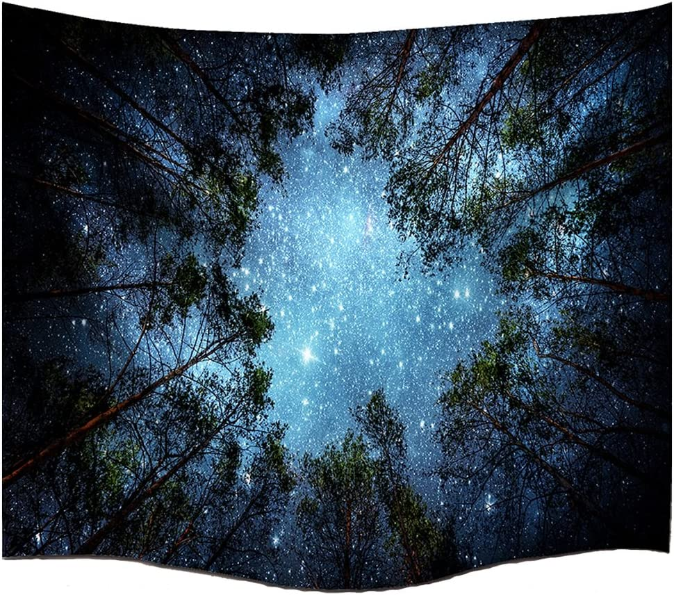 BJHAP Forest Galaxy Tapestry Celestial Starry Night Space Sky Full of Stars Psychedelic Wall Tapestry Hanging Home Decor for Living Room Bedroom College Dorm in 60 x 40 Inch