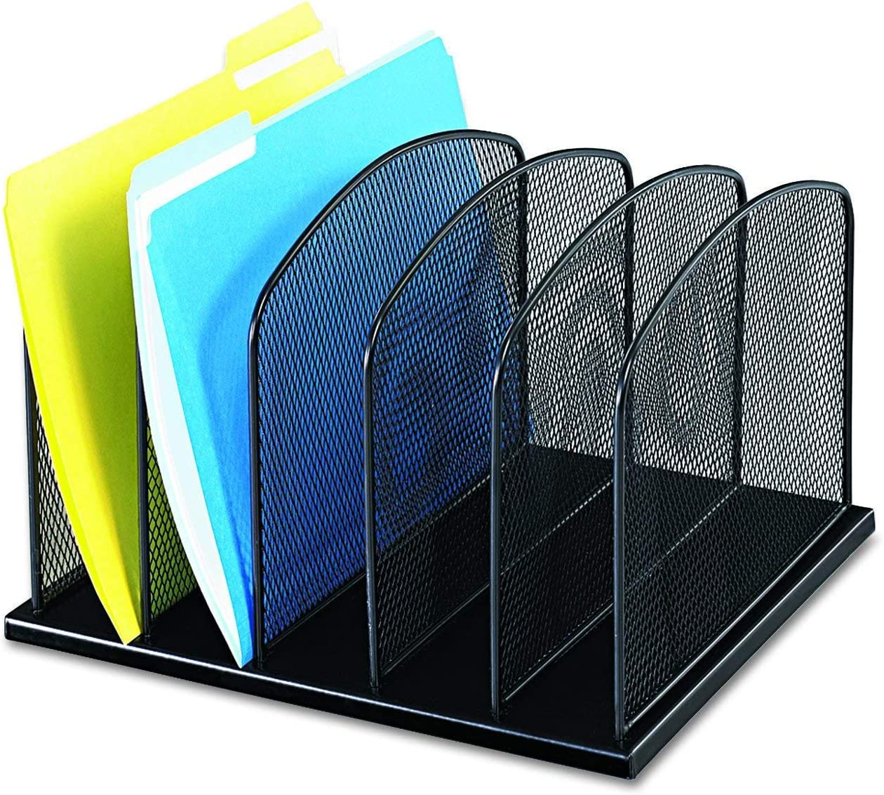 Durable Steel Mesh Construction Black Powder Coat Finish Renewed Safco Products Onyx Mesh 5 Sort Vertical Desktop Organizer 3256BL