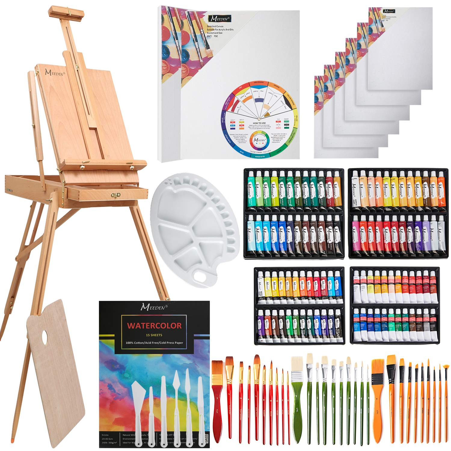 MEEDEN 145 Piece Deluxe Artist Painting Set with French Easel, Art Painting Brushes, Paint Tubes, Painting Pads, Stretched Canvas, Painting Knives for Acrylic, Oil, Watercolor Painting by MEEDEN