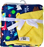 Baby Bucket Double Layer Velvet Fleece Newborn Printed Baby Blanket (Blue & Yellow)