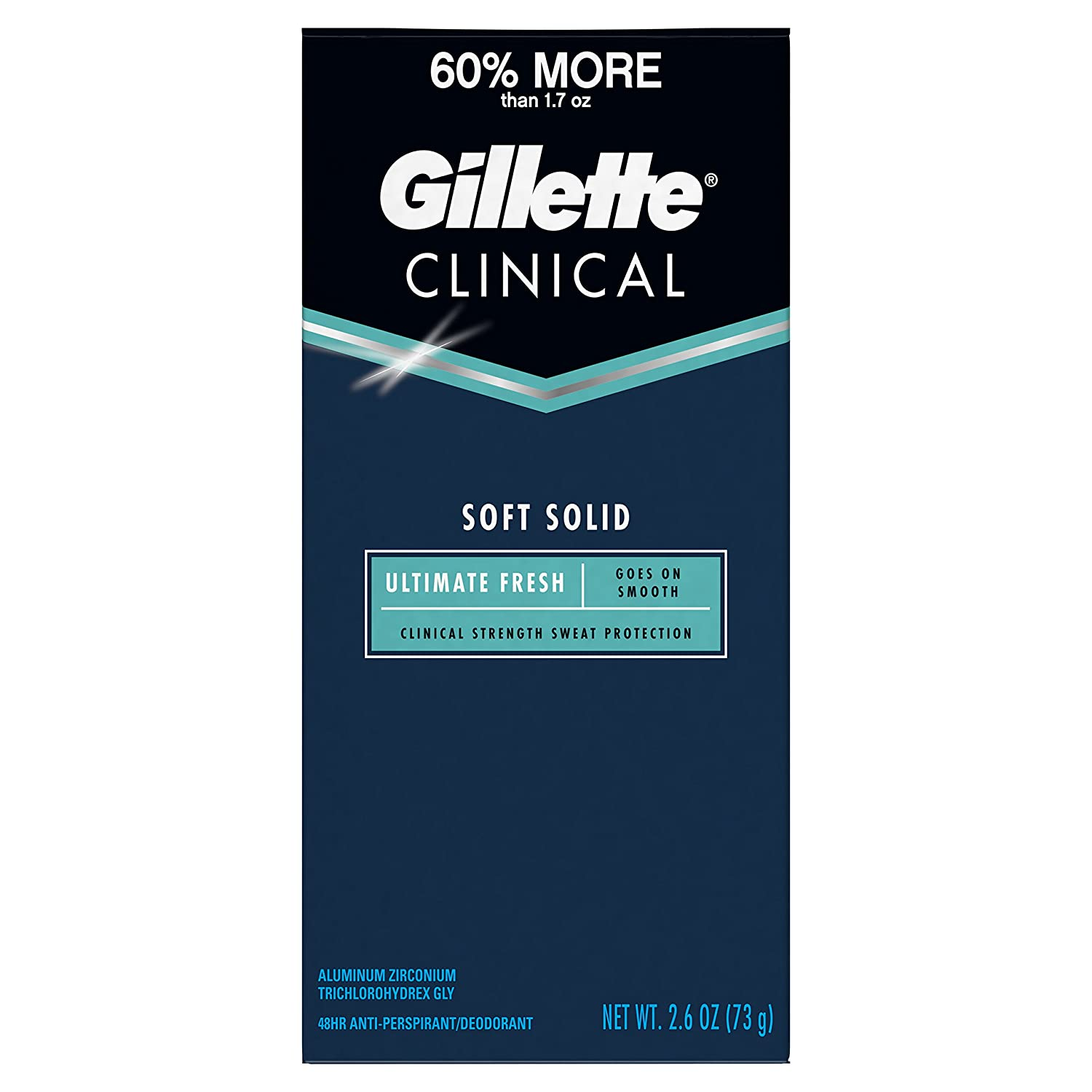 Gillette Clinical Antiperspirant Deodorant for Men, Ultimate Fresh Scent, Advanced Solid, 2.6 Ounce