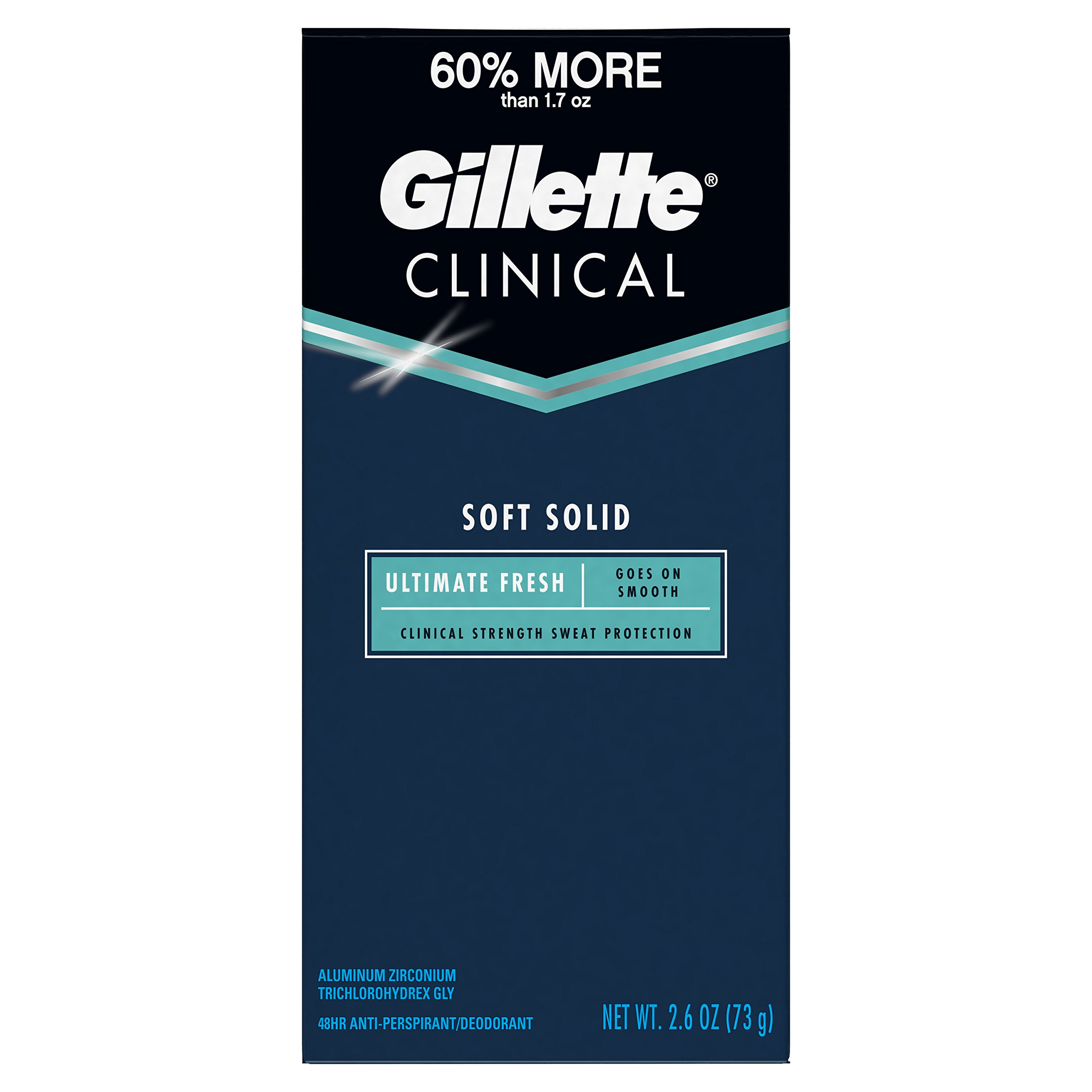 Gillette Clinical Advanced Solid for Long Lasting Sweat Protection, Crisp Fresh Scent, 2.6 Ounce (Packaging May Vary)