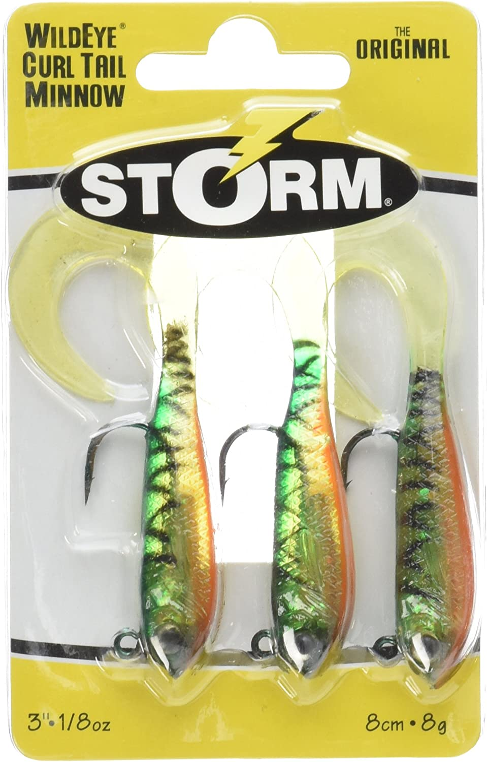 """Drawer #28 Storm Wildeye Curl Tail Minnow 3/"""" Baits Fire Tiger New In Package"""
