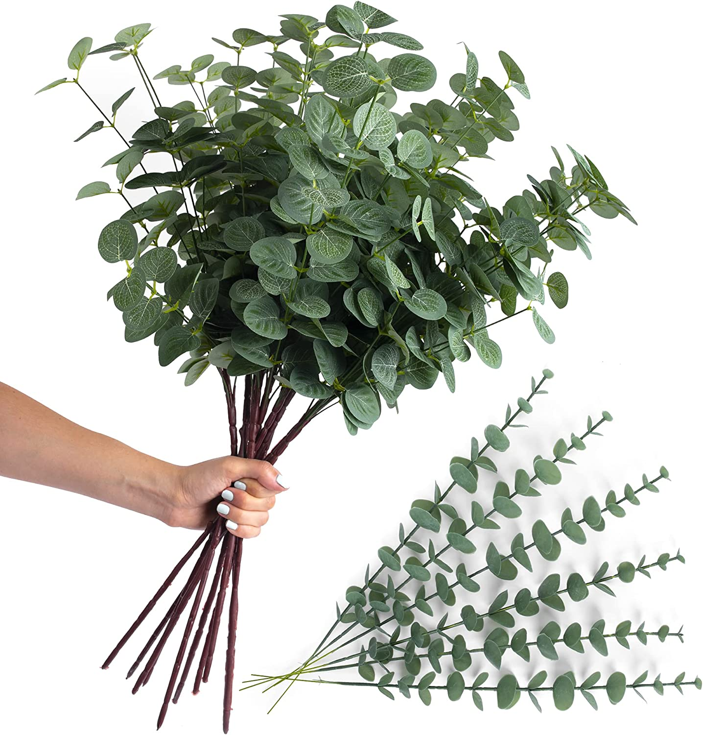12 Artificial Eucalyptus Stems with Fake Leaves – Decorative Arrangements Set Jumbo and Normal Size Flexible Stem Faux Greenery Branches Bouquets Silver Dollar Leaf Wedding Centerpieces Vases Decor