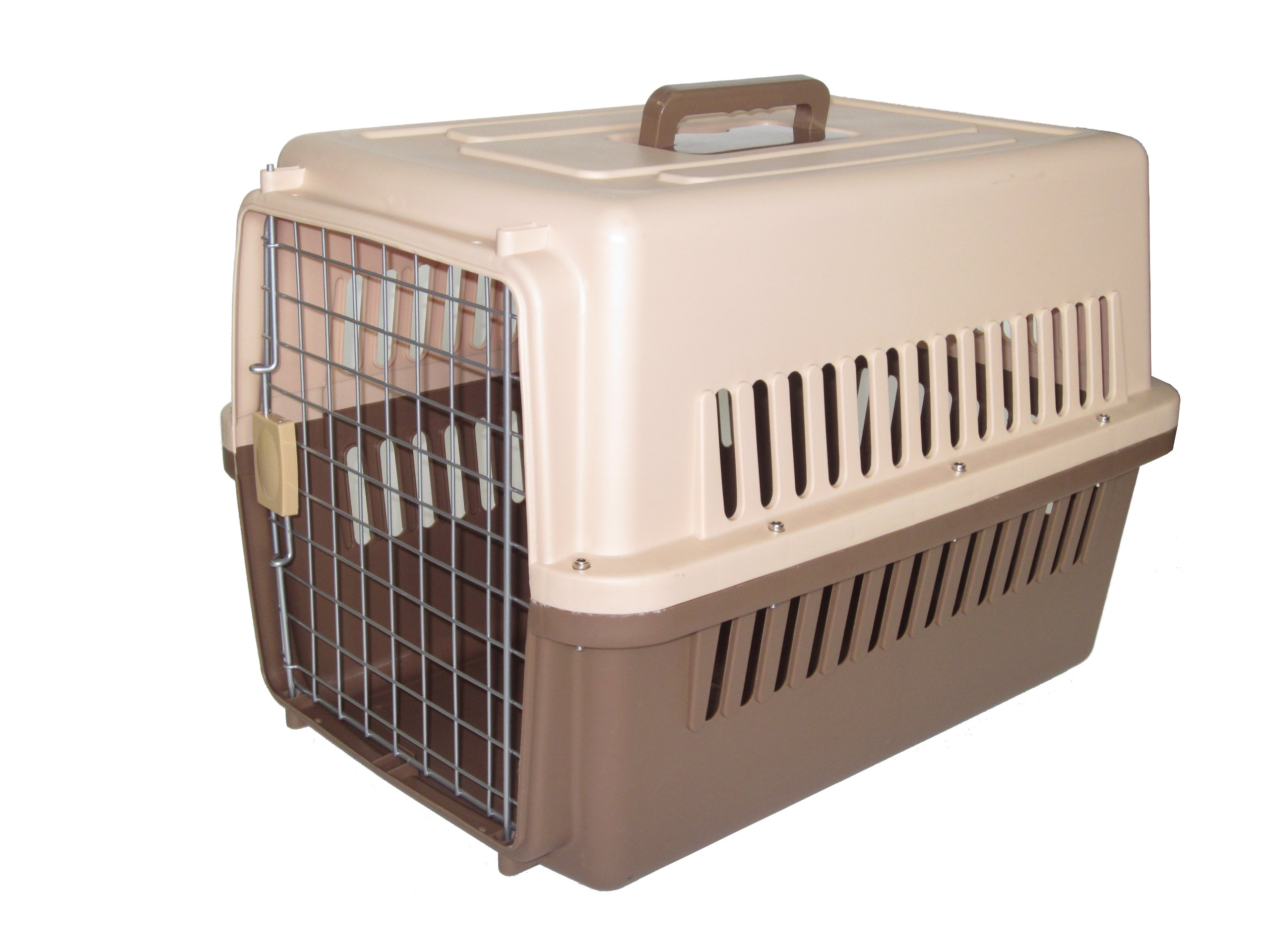 YML 31.5-Inch by 21.5-Inch by 24-Inch Travel Carrier Pet Kennel with Beige and Dark Brown Bottom, Medium