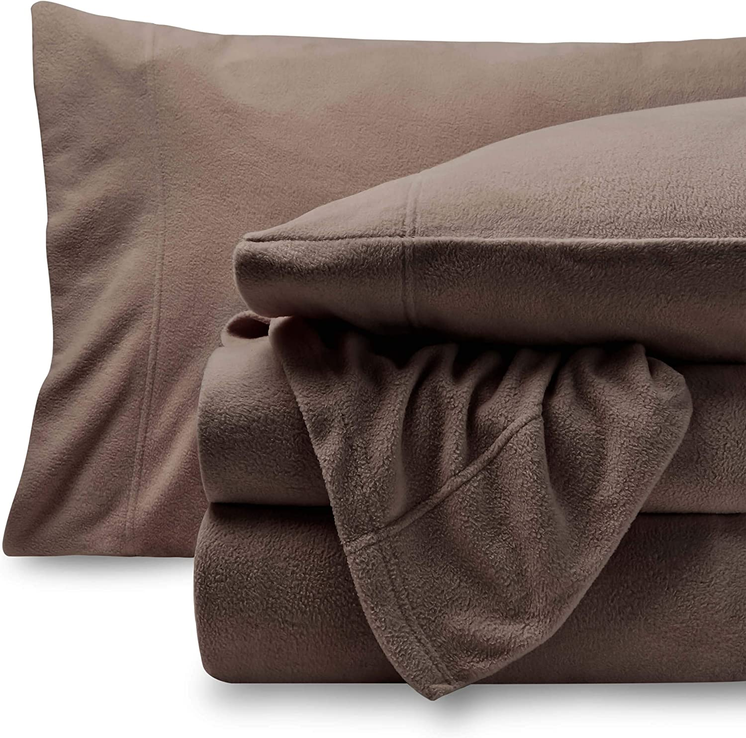 Bare Home Super Soft Fleece Sheet Set - Twin Extra Long Size - Extra Plush Polar Fleece, Pill-Resistant Bed Sheets - All Season Cozy Warmth, Breathable & Hypoallergenic (Twin XL, Taupe)