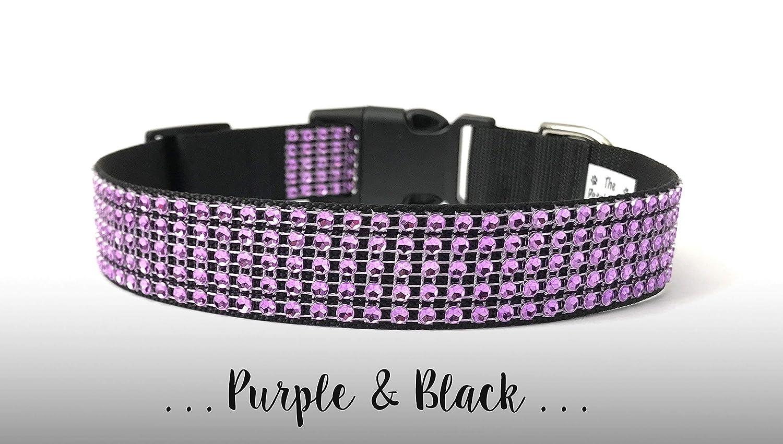 ~White Diamonds /& Purple~ Rhinestone Dog Pet OR Cat Collar USA