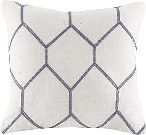 JLA Home INC Brooklyn Metallic Geo Embroidered Pillow Pair, 20x20, Grey
