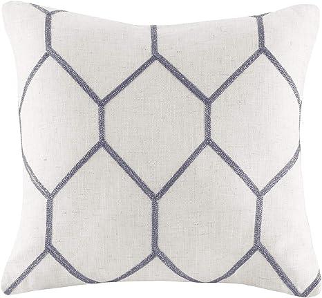 Amazon Com Jla Home Inc Brooklyn Metallic Geo Embroidered Pillow Pair 20x20 Grey Home Kitchen