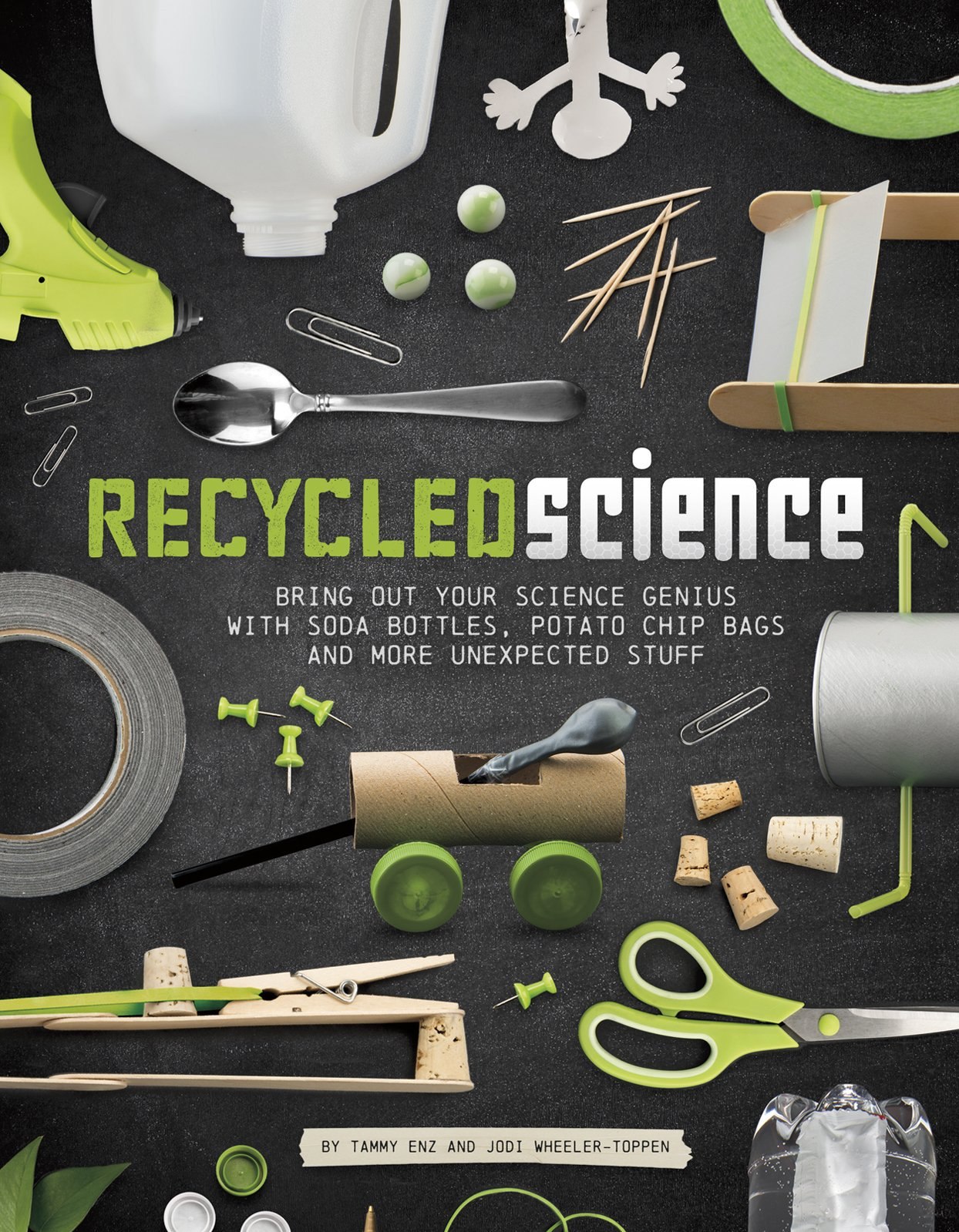 Recycled Science: Bring Out Your Science Genius with Soda Bottles, Potato Chip Bags, and More Unexpected Stuff - I love this book!  It's great for parents and for teachers.  It gets kids excited about building and creating things like paddle boats and ice cream makers from recyclable materials you probably have at your house.  #STEM #kids #students #teachers