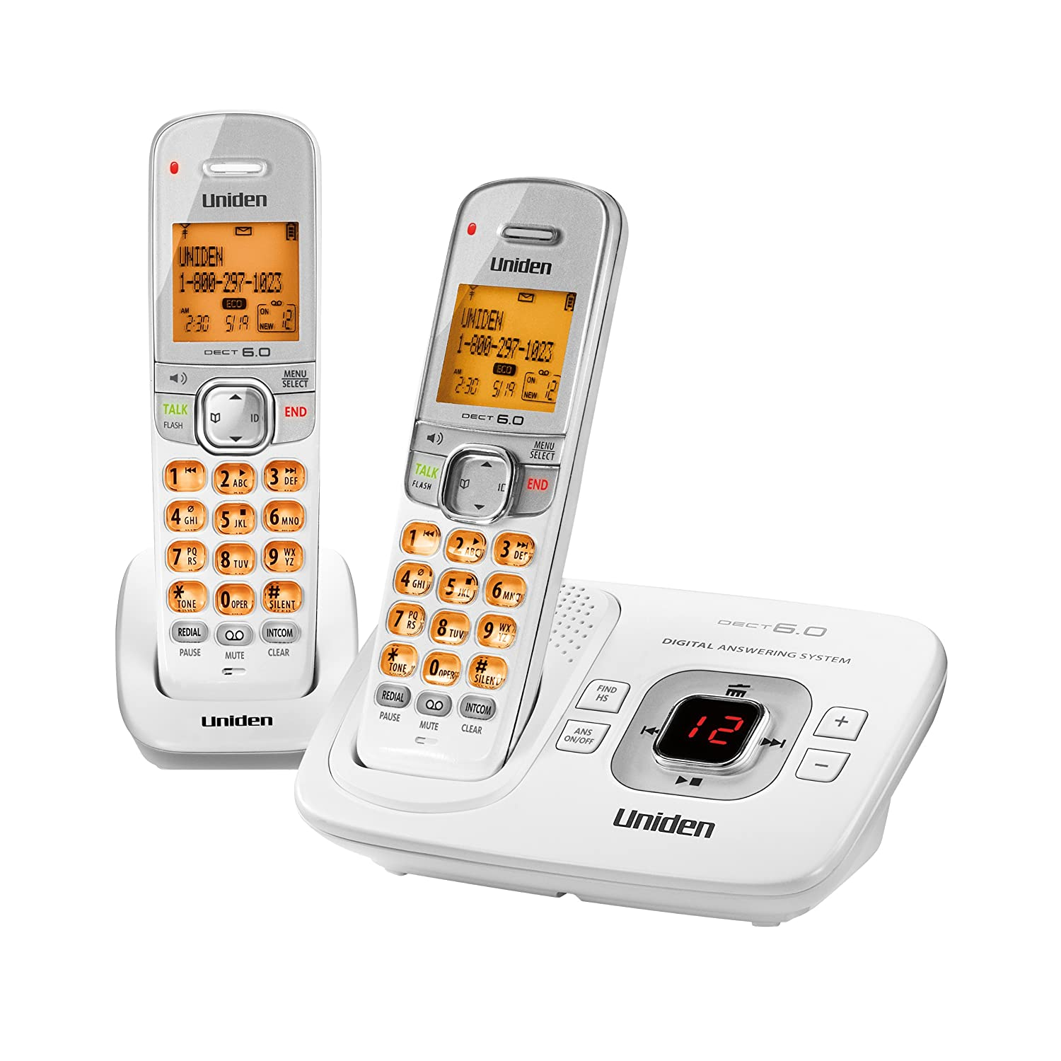 Amazon.com : D1780-2W DECT 6.0 Expandable Cordless Phone with Digital  Answering System, White, 2 Handsets : Cordless Telephones : Office Products