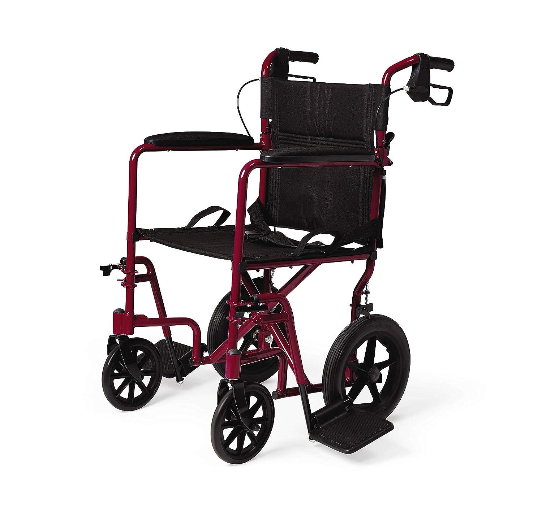 Medline Lightweight Transport Adult Folding Wheelchair with Handbrakes, Red