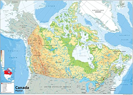 Paper Laminated A0 Size 84.1 x 118.9 cm Canada Political Map