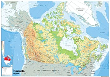 Canada Physical Map - Paper Laminated (A1 Size 59.4 x 84.1 cm ...