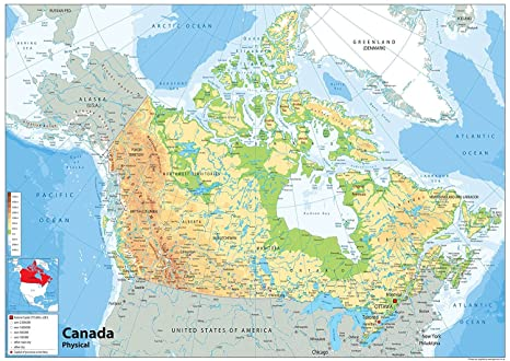 Canada Physical Map - Paper Laminated (A1 Size 59.4 x 84.1 cm)