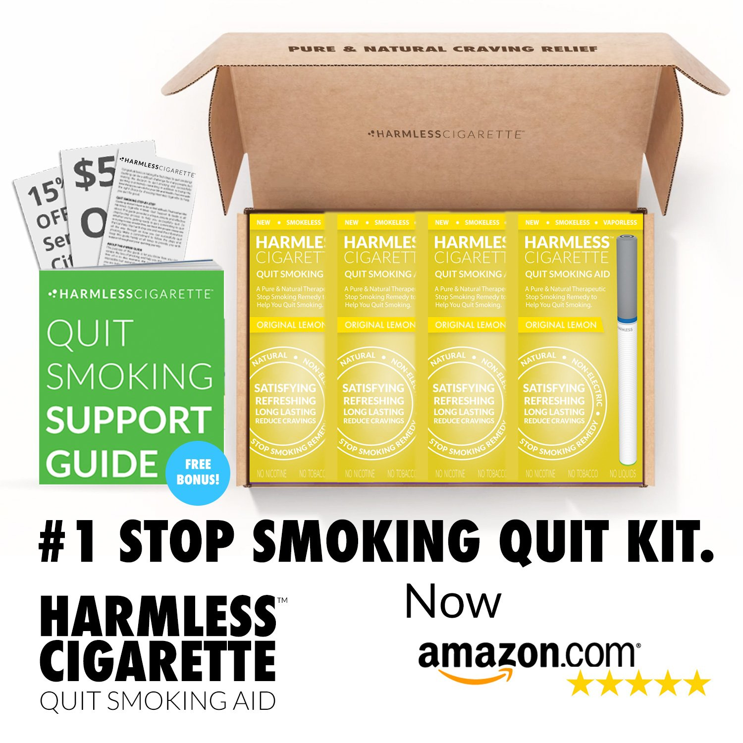 Natural Quit Smoking Aid/Satisfy Cravings & Reduce Cravings/Safe & Effective Habit Replacement/FREE Support Guide Included (4 Pack Quit Kit, Original Lemon)