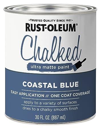 Rust Oleum 329207 Chalked Ultra Matte Paint 30 Oz Coastal Blue